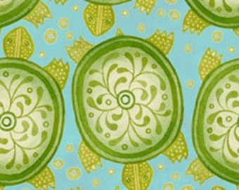 Turtle Fabric - Azuli by Julie Paschkis for In The Beginning - 10JPG Green - Priced by the 1/2 yard