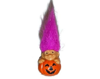 80s RUSS Miniature Troll Pumpkin Figurine Toy Vintage Baby Troll Jack O Lantern Mini Troll Doll Hot Pink Spiked Hair Hairdo Tiny Gnome Gift
