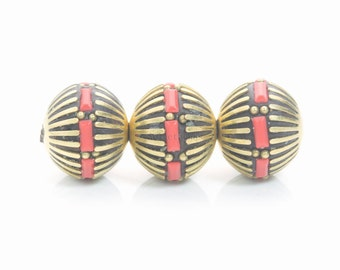 red and golden polymer clay round beads - handmade polymer clay jewelry beads - making jewelry with polymer clay - 15mm clay beads - 4pcs