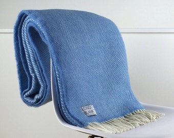 Blue Throw Blanket, 100% Wool - Blue Sofa Throw, Blue Bed Throw, Blue Wool Blankets & Throws, Perfect for Any Room, Free Delivery Available