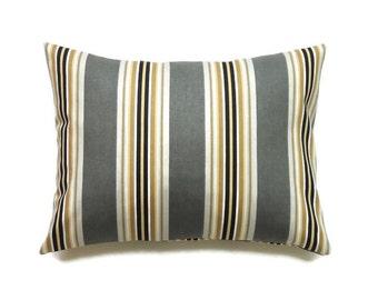 Gray Lumbar Pillow Cover, 12x16 Pillow Cover, Decorative Pillows, Gold Lumbar Pillow, Modern Pillow Covers, Paramount Graphite