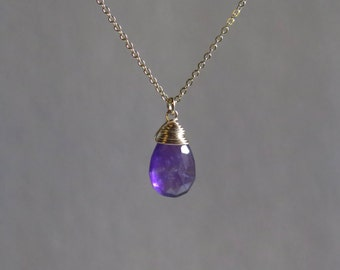 Amethyst Necklace - February Birthstone - Gold Filled