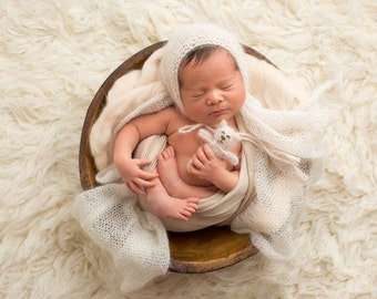 Newborn 'Cream' Mohair Wrap: Newborn Photography Prop/ Ready To Ship