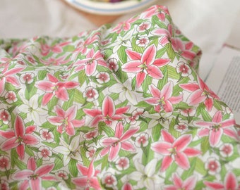 """Cotton Fabric Lily Flower Fabric by the Yard 44"""" Wide Cozy Lily Flower"""