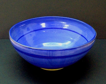 Ceramic bowl, extra large bowl, large bowl, blue bowl, punch bowl, serving bowl