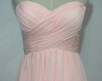 Pink Sweetheart Bridesmaid Dress Short/Floor Length Chiffon Pale Pink Strapless Dress-Custom Dress