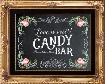 chalkboard love is sweet sign, candy buffet sign, candy bar sign, printable take a treat sign, chalkboard wedding sign,  8x10, you print
