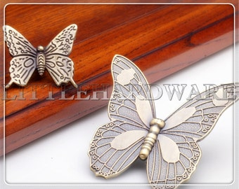 "Antique Bronze 43mm/88mm width ""butterfly"" rustic dresser drawer knobs/patterned knobs/decorative knobs/furniture knobs/unique cabinet knobs"