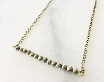 Faceted Pyrite Bar Necklace