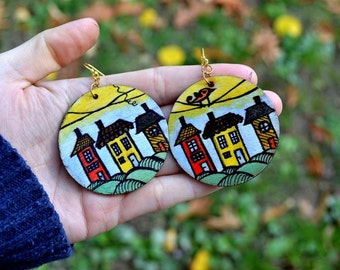 Wonderful small houses with birds Earrings