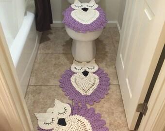 Sleepy Owl Rugs Set for bathroom