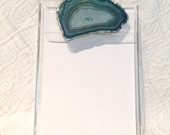 Acrylic Notepad with Raw Agate