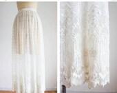 40% OFF SALE 1900s Antique Edwardian Tambour Lace Skirt / Vintage Antique / Size Medium Large / Essonne River Skirt