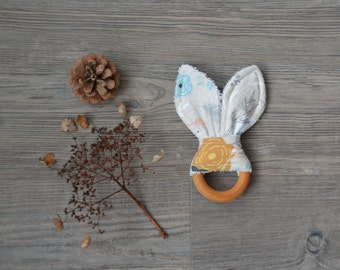 Natural Baby Teething Toy - Bunny Ears Teether - Wooden Teething Ring
