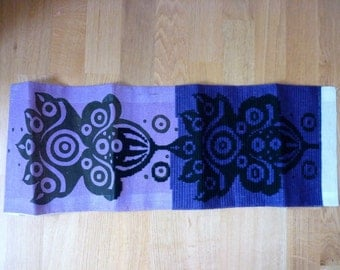 Vintage Swedish Needlepoint / Black Purple Tapisserie / To Use in Sewing, Jewelry Making, Art, Mixed Media