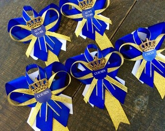 6 Little prince baby shower pins- little prince corsage-royal prince baby shower-royal blue and gold baby shower-aunt to be pin- grandma pin