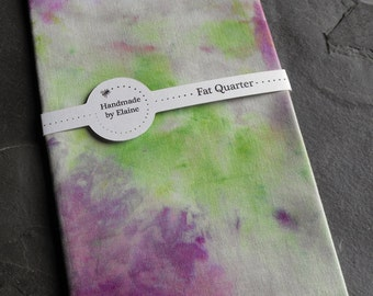 Purple Green Fat Quarter - Hand Dyed Fabric, Vibrant Vivid Apple White Aubergine Eggplant Violet Damson Spring Green Quilting Cotton, 3067