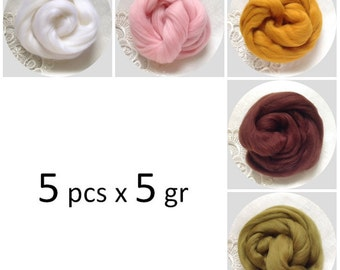 Extrafine Merino WOOL Dyed TOPS  19 Microns 5 colours x 5 gr each felting spinning teddy bear making supplies