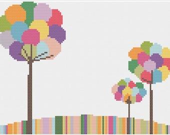 Bubble Trees Cross Stitch Pattern PDF ** Instant Download **