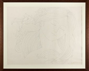 EUGENE KARLIN - very large original graphite drawing - c1960s - custom framed (mid 20th Century American artist)