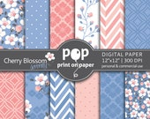 Floral digital paper Cherry Blossom digital paper Pantone Colors of the year, Rose Quartz & Serenity, Delicate flowers Wedding digital paper