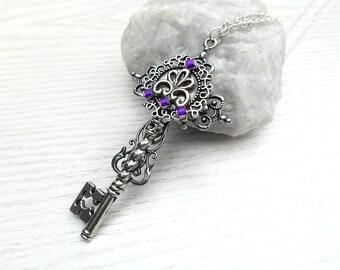 necklace purple cross key fantasy key fantasy jewelry  cross key pendant