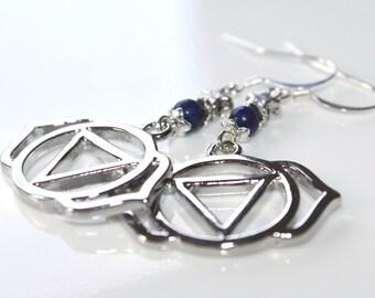 Third Eye Earrings, Lapis Lazuli, Boho Crystal Jewelry, Silver Chakra Earrings, Third Eye Chakra, Yogini Jewelry, Reiki Healing, Ajna Chakra