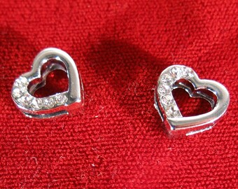 """10pc """"heart"""" 8mm slide charms in antique style silver (BC1052)"""