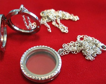 "2pc 30mm Floating Charm Locket ""Round"" with necklace (LC9)"