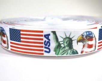 "5 yards of 1 inch ""USA flag"" grosgrain ribbon"