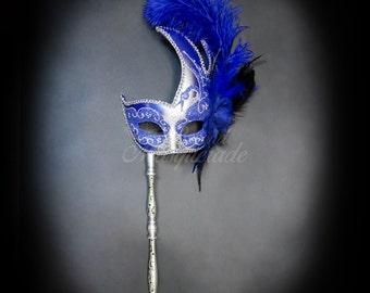 Masquerade Mask, Mardi Gras Mask, Silver & Royal Blue Mask with Handheld Stick, Mardi Gras Masks, Masquerade Ball, Handheld Stick Mask