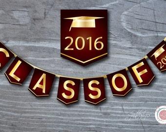 Digital Maroon and Gold Graduation Banner, Class Of, Graduate, Clipart, Grad, Graduation Party Decorations,Scrapbook Supplies, Crafts