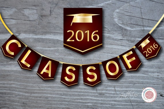Digital Maroon and Gold Graduation Banner, Class Of ...