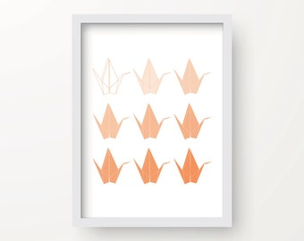 8x10 Orange Ombre Digital Origami Cranes print