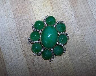 Vintage Les Bernard brooch Lucite  Rhinestones Emerald Green Large