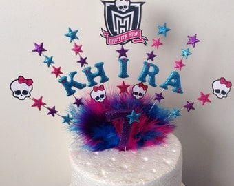 Monster high skull name and age cake topper made in your  choice of colours