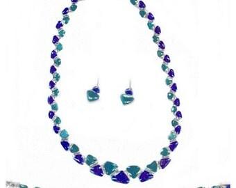 Lapis Lazuli and Malachite Triangular Hinge Set