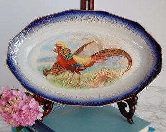 Limoges Porcelain Platter - Handpainted Pheasants - Blue & White Porcelain Dinnerware