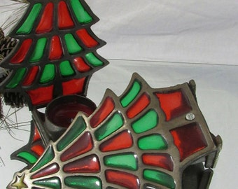 Vintage Stained Glass Candle Holders Christmas Tree Votive Holders Taiwan Set of 2