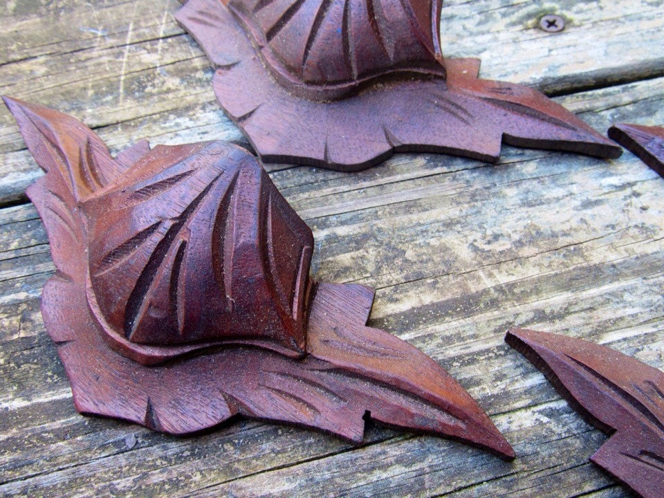 Antique Hand Carved Wooden Drawer Pulls Victorian Leaves