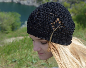 Black Boho hat Crochet summer women's hat beret, black hat beret, lace beret, lace summer hat  hat ladies crochet Christmas gift