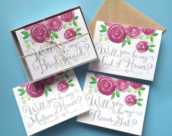 Will You Be My Bridesmaid Card Set of 8, Will You Be My Bridesmaid, Will You Be My Bridesmaid Invitation, Choice of Color