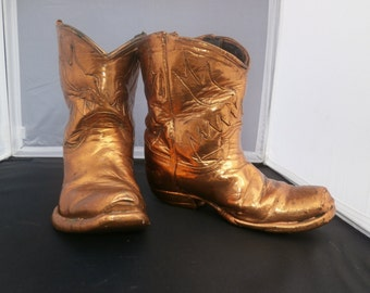 vintage copper dipped leather boots
