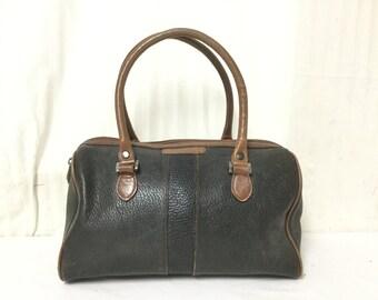 Free Ship,Tote bag, Leather Satchel Purse,bag,Black ,Brown Trim ,Handbag, Liz Claiborne
