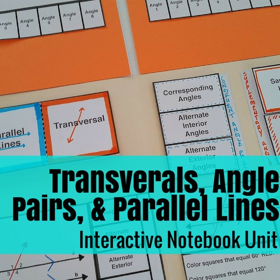 Folder Flips: Transversals, Parallel Lines, and Angle Pairs Interactive Notebook Unit