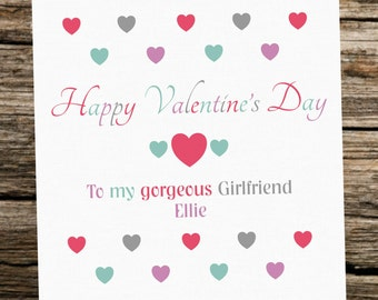 Personalised Valentine's Day Card ~ Girlfriend ~ Hearts