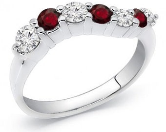 14k White or Yellow Gold Diamond & Ruby Journey Ring, 0.80 cttw., Sizes 5-10