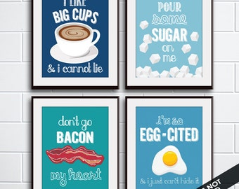 Big Cups, Sugar, Bacon, Egg - Cited (Funny Kitchen Song Series) Set of 4 Art Prints (Featured in 6, 11, 9, 8) Kitchen Art