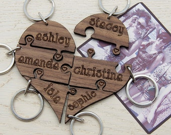 To Our Bridesmaid Heart Jigsaw Wooden Keyring - Bridesmaids Gift - Up To Six Bridesmaids -  Walnut Wood - Personalised - FREE UK Delivery!