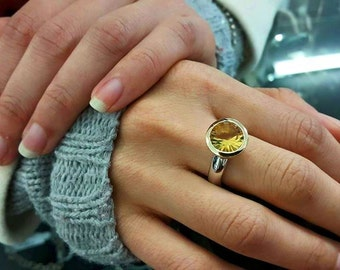 "Citrine or Blue Topaz ""Summer"" Statement Ring in sterling silver"